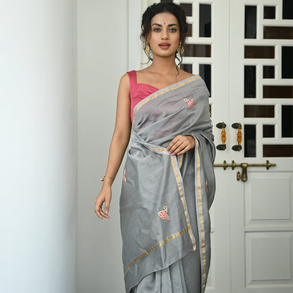 grey pink chanderi saree