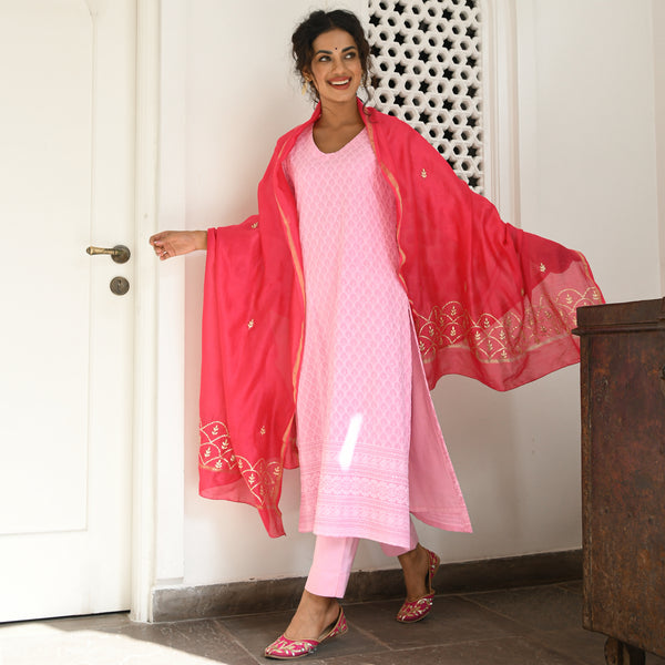 pink chikankari kurta with cotton pants and chanderi dupatta