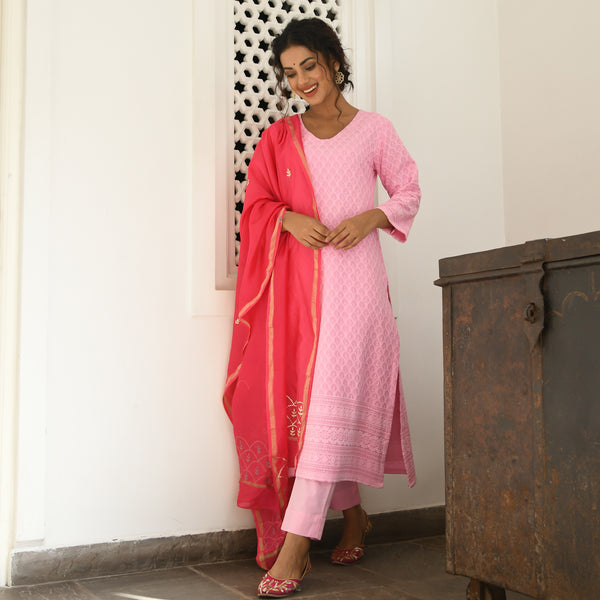 chikankari kurta with cotton pants and chanderi dupatta
