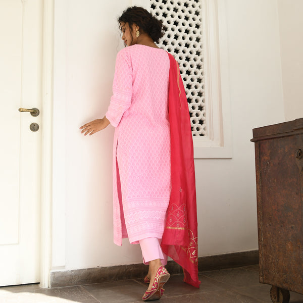 amazing quality suit for women , shop pink suit set with pants and dupatta at best prices