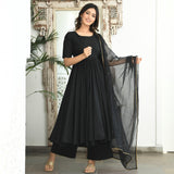 black cotton suit with organza dupatta
