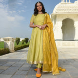 Buy online angrakha style kurta ,tellow kurta for women,kurta with chanderi dupatta