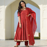 Red suit with gota work,red suit set online