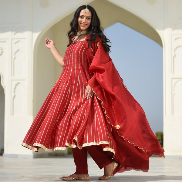 amazing quality red suit for women,suit with gota work for women