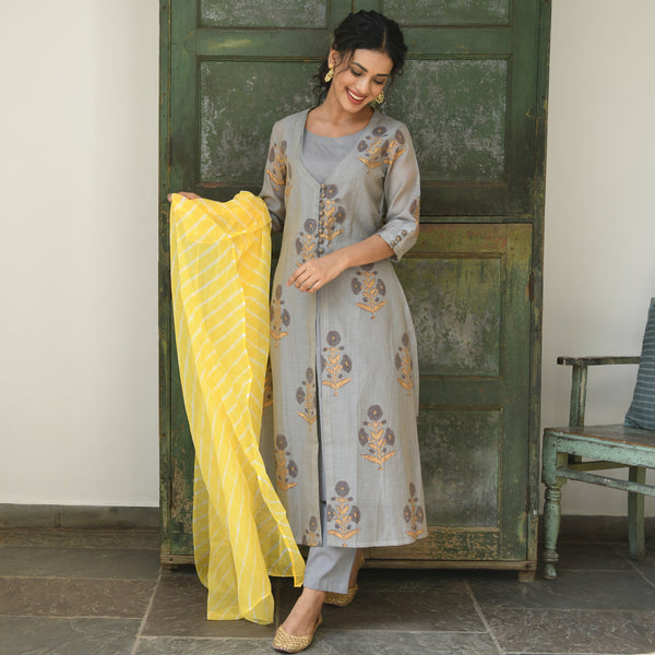 chanderi kurta ,cotton kurta and pants with doriya dupatta