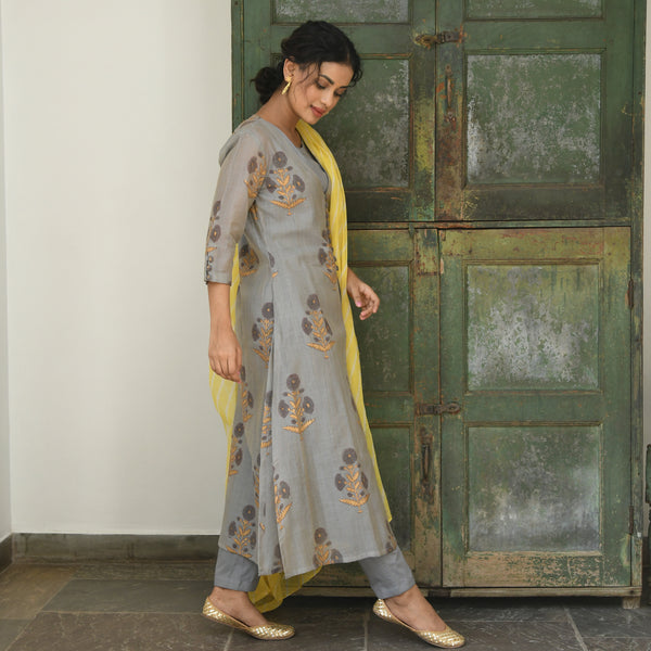 shop amazing quality yellow grey chanderi suit set