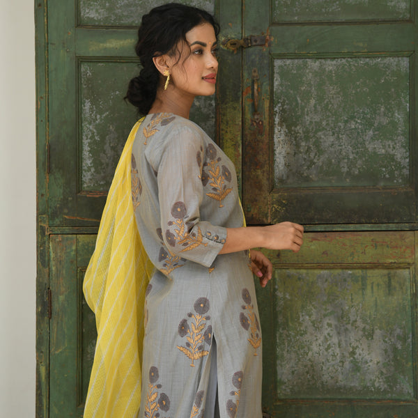 get yellow grey chanderi suit set at best prices