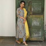 yellow grey chanderi suit set