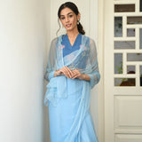 Powder Blue Chiffon Saree