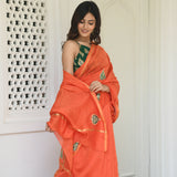 orange colored chanderi saree