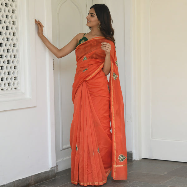 shop orange chanderi saree online