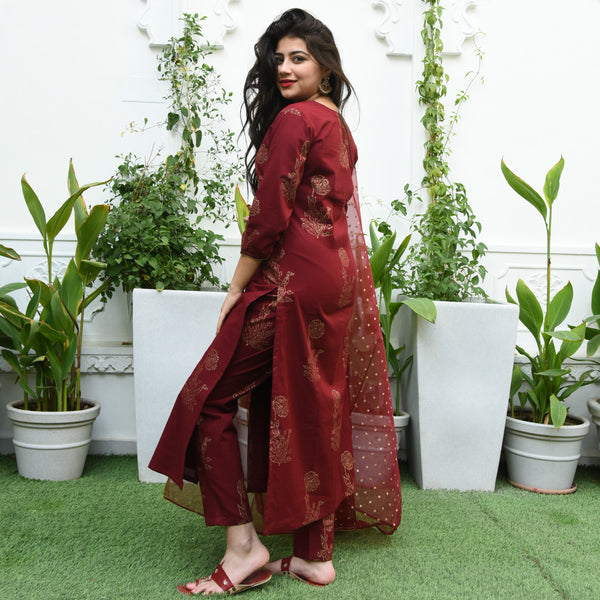 Maroon Handblock Printed Cotton Suit