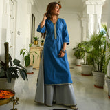 Blue Grey Cotton Kurta Set