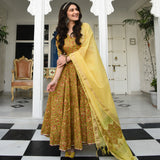 Yellow Patan Print Suit Set