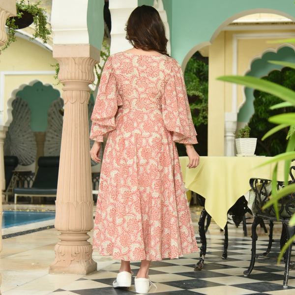 Flared Sleeves Cotton Dress
