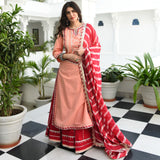 Rosy Coral Cotton Suit Set