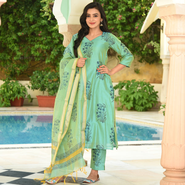 Green Chanderi Suit Set