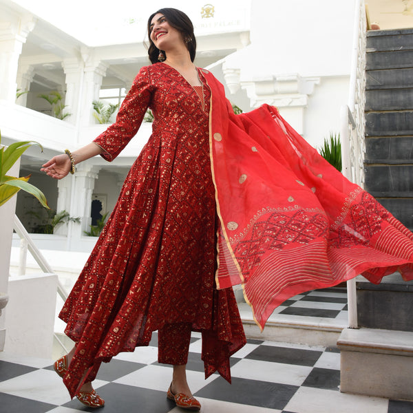 Red Patan Print Suit Set