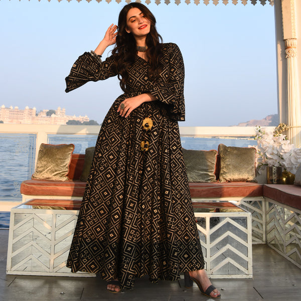 Black and gold Kurta set