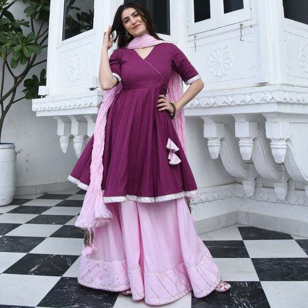 Orchid Pink Cotton Suit Set