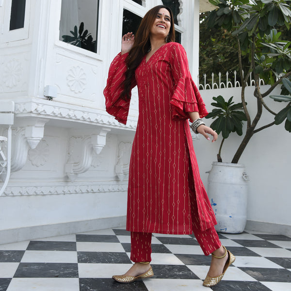 Geometric Frill Cotton Kurta Set