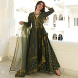 Olive Gold Silver Cotton Dress