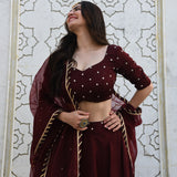 Dark Cherry Lehenga Set