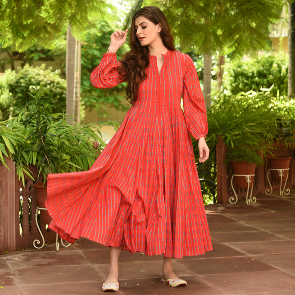 Stripes Print Red Cotton Dress