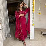 red suit set with modal satin kurta and georgette dupatta