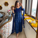 blue suit set with satin stripe kurta and net dupatta