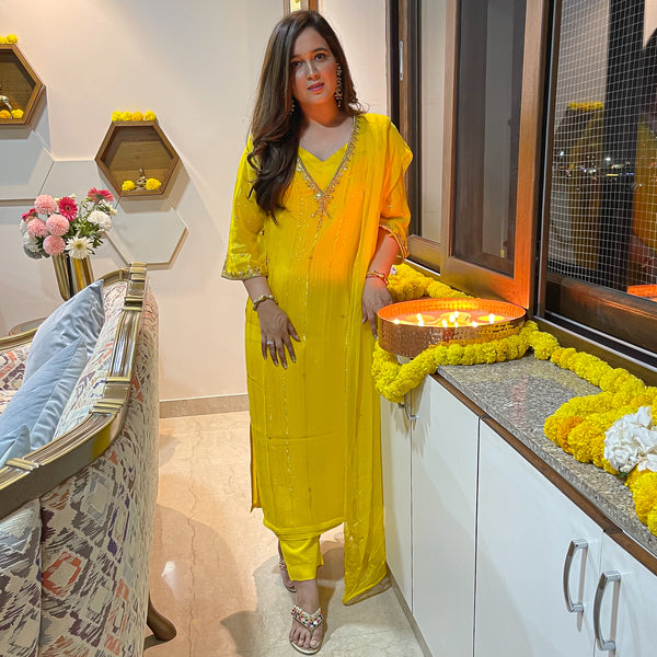 suit set with modal satin inner,lurex kurta and chiffon dupatta,yellow suit set