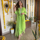buy green suit set with pants and net dupatta online at best prices