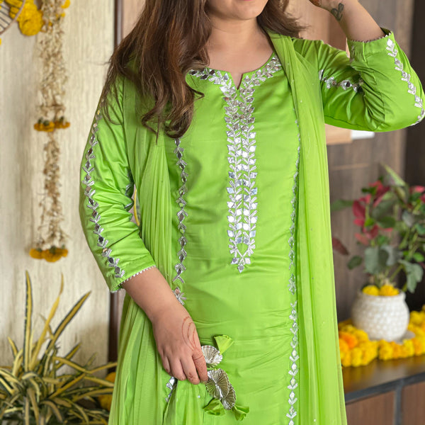 best indian wear brand, ethnic wear online,shop amazing quality green suit with gota and mirror work