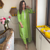 suit set with modal kurta , pants having mirror and gota work and net dupatta ,lime suit set with modal kurta and net dupatta