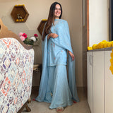 buy amazing quality plume blue suit with sharara
