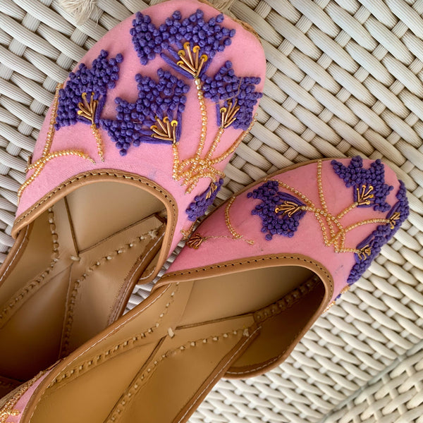 Indian footwear for women pink golden purple