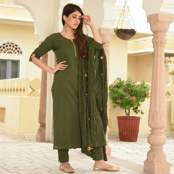 Kombu Green Cotton Suit