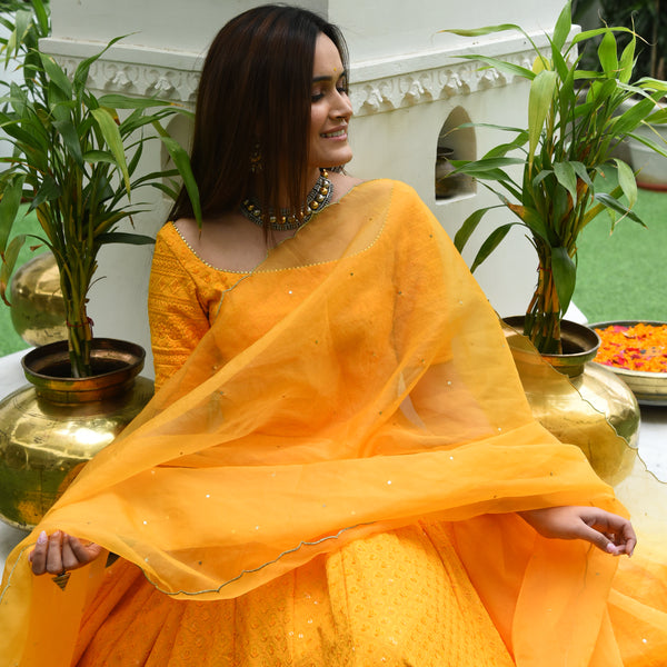 Sunset Yellow Chikankari Suit