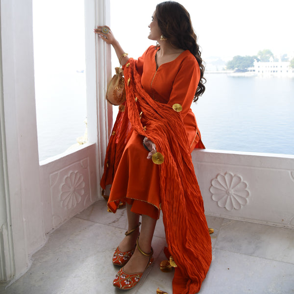 Orange Quirky Cotton Suit