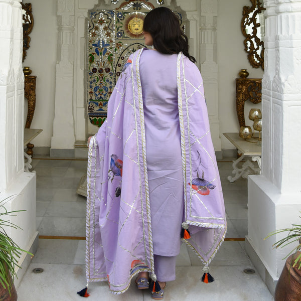 Lilac Handpainted Dupatta Suit Set