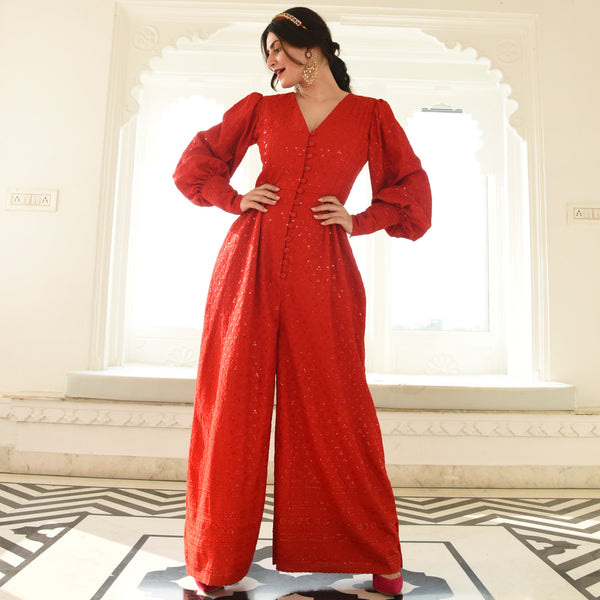 Red Chikankari Jumpsuit