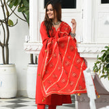 Tomato Red Cotton Suit Set