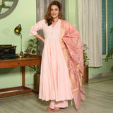 Peach Embroidered Cotton Suit Set