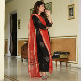 Red Black Cotton Suit Set