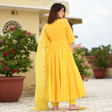 Yellow Bandhej Suit Set