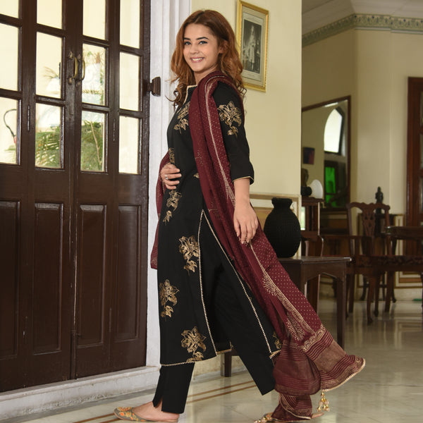 Maroon Black Cotton Suit Set