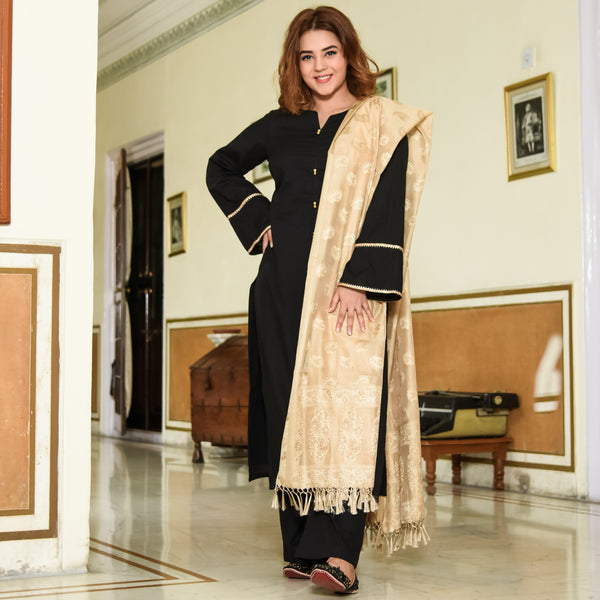 Black Beige Cotton Suit Set