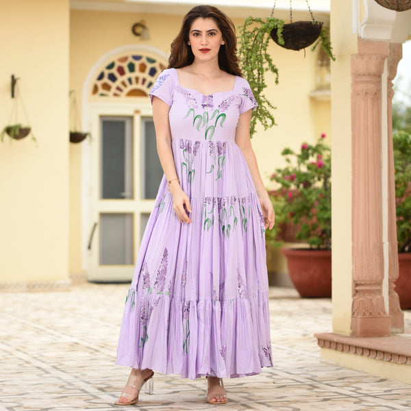 Orchid Handpainted Cotton Dress