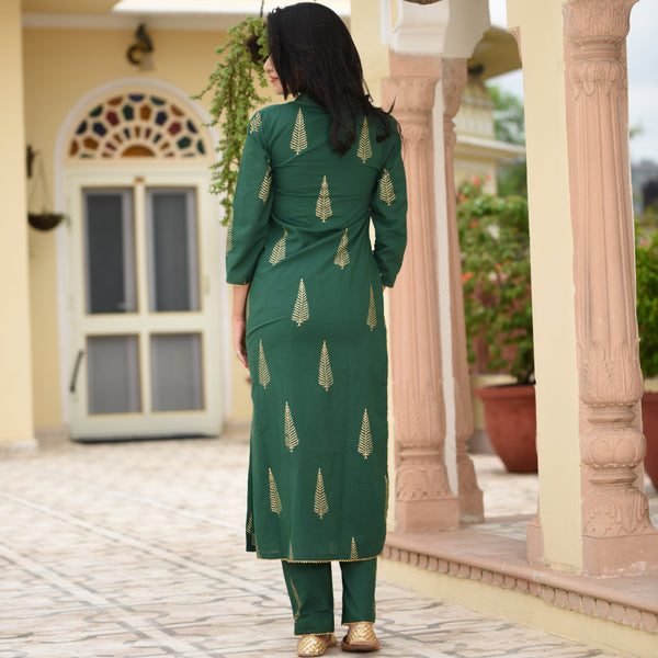 Green Straight Kurta Set