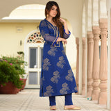Princess Blue Cotton Kurta Set